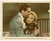 5k049 LADY IS WILLING color 8x10.25 still '42 romantic c/u of Marlene Dietrich & Fred MacMurray!