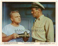 5k063 MISTER ROBERTS color 8x10 still #4 '55 James Cagney showing Henry Fonda the hat he'll wear!