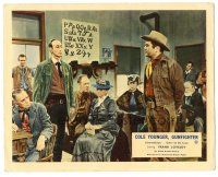 5k018 COLE YOUNGER GUNFIGHTER color English FOH LC '58 Frank Lovejoy in schoolhouse with townsfolk!