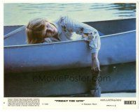 5k032 FRIDAY THE 13th 8x10 mini LC #6 '80 close up of Adrienne King in canoe, slasher classic!