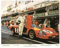 5k053 LE MANS 8x10 mini LC #1 '71 Steve McQueen wearing jumpsuit with his name by race car!