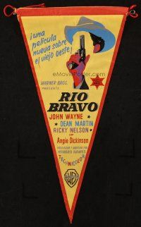 5z001 RIO BRAVO 6x11 Spanish pennant '59 cool different art of John Wayne, Howard Hawks classic!