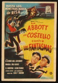 5z003 ABBOTT & COSTELLO MEET FRANKENSTEIN Spanish herald '50 Wolfman & Dracula after Bud & Lou!