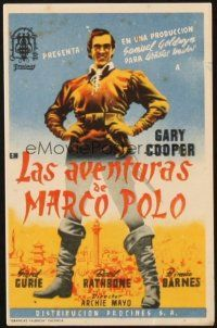 5z005 ADVENTURES OF MARCO POLO Spanish herald '37 great different full-length art of Gary Cooper!