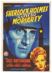 5z008 ADVENTURES OF SHERLOCK HOLMES Spanish herald '40 Soligo art of Basil Rathbone & Ida Lupino!