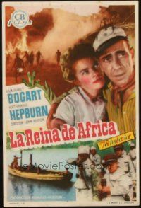 5z009 AFRICAN QUEEN Spanish herald '52 different image of Humphrey Bogart & Katharine Hepburn!