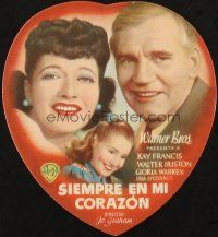 5z012 ALWAYS IN MY HEART die-cut Spanish herald '42 Kay Francis, Walter Huston, Gloria Warren!