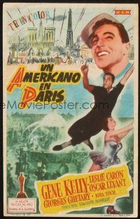 5z014 AMERICAN IN PARIS Spanish herald '51 different art of Gene Kelly dancing w/sexy Leslie Caron!
