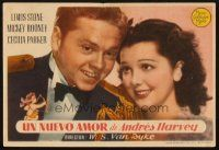 5z015 ANDY HARDY GETS SPRING FEVER Spanish herald '39 romantic c/u of Mickey Rooney & Rutherford!