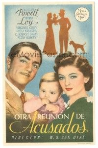 5z016 ANOTHER THIN MAN Spanish herald '39 William Powell, Myrna Loy with baby & Asta the dog!