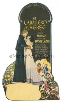 5z017 ANTHONY ADVERSE die-cut Spanish herald '36 art of Fredric March & Olivia de Havilland!
