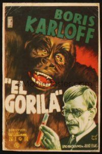 5z018 APE Spanish herald '40 great Maria art of Boris Karloff & wacky gorilla!