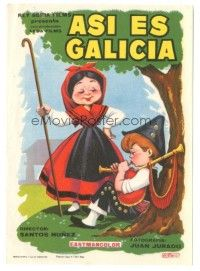 5z020 ASI ES GALICIA Spanish herald '64 great Beris cartoon art of young boy playing bagpipes!