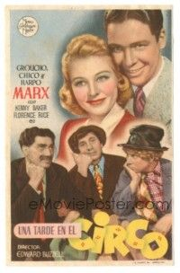 5z023 AT THE CIRCUS Spanish herald '45 Groucho, Chico & Harpo, Marx Brothers, different image!