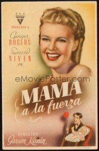5z025 BACHELOR MOTHER Spanish herald '44 Ginger Rogers + art of David Niven with baby!