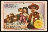 5z026 BADLANDS OF DAKOTA Spanish herald '46 sheriff Robert Stack, Ann Rutherford, Frances Farmer