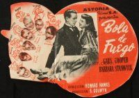 5z027 BALL OF FIRE die-cut Spanish herald '44 dapper Gary Cooper, Barbara Stanwyck + seven dwarfs!