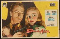 5z035 BLUE DAHLIA Spanish herald '49 close up art of Alan Ladd with gun & sexy Veronica Lake!
