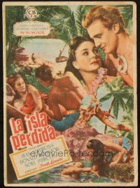 5z036 BLUE LAGOON Spanish herald '49 montage of sexy stranded Jean Simmons & Donald Houston!