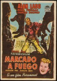 5z039 BRANDED Spanish herald '50 great artwork image of tough cowboy Alan Ladd with gun in hand!