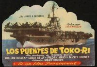 5z042 BRIDGES AT TOKO-RI die-cut Spanish herald '59 James Michener, different aircraft carrier art!