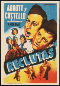 5z044 BUCK PRIVATES Spanish herald '41 Beut art of Bud Abbott & Lou Costello + Andrews Sisters!