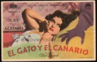 5z048 CAT & THE CANARY Spanish herald '39 c/u of monster hand threatening sexy Paulette Goddard!