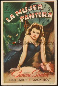 5z049 CAT PEOPLE Spanish herald '47 Val Lewton, art of sexy Simone Simon by black panther!