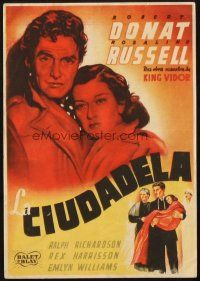 5z051 CITADEL Spanish herald '38 different art of Robert Donat holding Rosalind Russell!