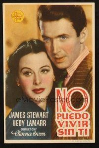 5z054 COME LIVE WITH ME Spanish herald '41 different portrait of James Stewart w/sexy Hedy Lamarr!