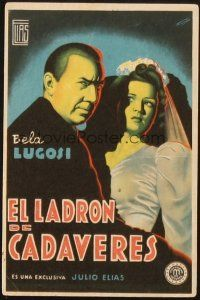 5z059 CORPSE VANISHES Spanish herald '42 different art of Bela Lugosi & Luana Walters by Fernandez!