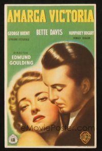 5z063 DARK VICTORY Spanish herald '48 different close up art of Bette Davis & George Brent!