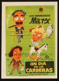 5z064 DAY AT THE RACES Spanish herald R60s Marx Brothers, wacky different Jano horse racing art!