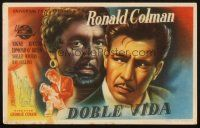 5z072 DOUBLE LIFE Spanish herald '47 film noir, completely different art of Ronald Colman!