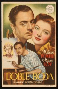 5z073 DOUBLE WEDDING Spanish herald '37 different image of William Powell painting & w/ Myrna Loy!