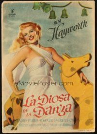 5z074 DOWN TO EARTH Spanish herald '49 different image of beautiful Rita Hayworth on toy horse!