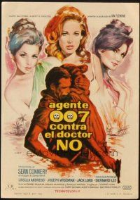 5z076 DR. NO Spanish herald '63 different art of Sean Connery as James Bond & sexy girls by Mac!