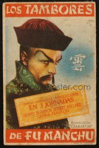 5z077 DRUMS OF FU MANCHU Spanish herald '42 Republic serial, cool Asian villain artwork!