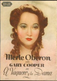 5z060 COWBOY & THE LADY Spanish herald '40 portraits of Gary Cooper & pretty Merle Oberon!
