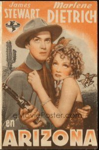 5z069 DESTRY RIDES AGAIN Spanish herald '42 different image of James Stewart & Marlene Dietrich!