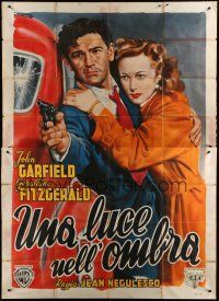 6a130 NOBODY LIVES FOREVER Italian 2p '46 Ciriello art of John Garfield with gun & Fitzgerald!