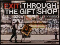 6d243 EXIT THROUGH THE GIFT SHOP teaser DS British quad '10 Banksy, Mona Lisa in shopping cart!
