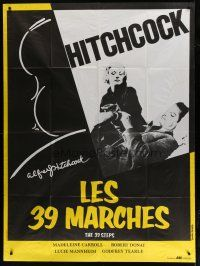 6k540 39 STEPS French 1p R80s Robert Donat, Madeleine Carroll, cool art of Alfred Hitchcock!