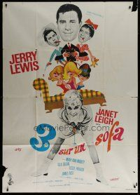 6k539 3 ON A COUCH French 1p '66 different art of wacky Jerry Lewis & sexy Janet Leigh by Siry!