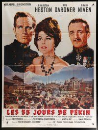 6k541 55 DAYS AT PEKING style C French 1p '63 different art of Charlton Heston, Ava Gardner & Niven!