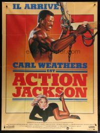 6k543 ACTION JACKSON French 1p '88 different Rombi art of Carl Weathers & sexy Sharon Stone!