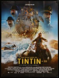 6k545 ADVENTURES OF TINTIN French 1p '11 Steven Spielberg's CGI version of the Belgian comic!