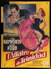 6k546 AFFAIR IN TRINIDAD French 1p '52 wonderful different Grinsson art of sexy Rita Hayworth!