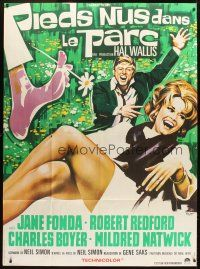 6k563 BAREFOOT IN THE PARK French 1p '67 different Roje art of Robert Redford & sexy Jane Fonda!