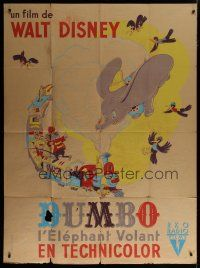 6k639 DUMBO French 1p '47 different colorful art of classic Disney circus elephant, ultra rare!